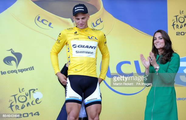 Giant Shimano's Marcel Kittel wears the leaders yellow jersey on stage with the Duchess of Cambridge after stage one of the Tour de France in...