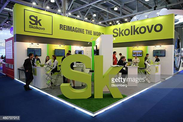 A giant 'SK' logo stands on display at the Skolkovo Foundation corporate pavilion during the 21st World Petroleum Congress in Moscow Russia on Monday...