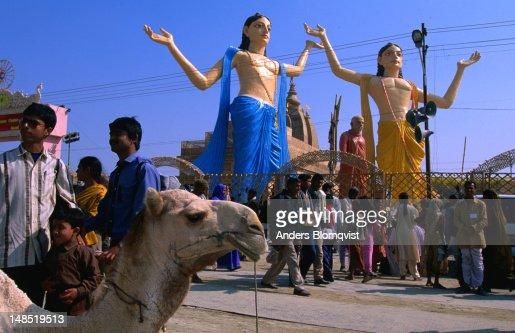 Giant statues at ISKCON camp during the Maha Kumbh Mela Festival.