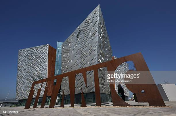 A giant steel name plate marks the entrance to the Titanic Belfast Experience on March 27 2012 in Belfast Northern Ireland The Titanic Belfast...