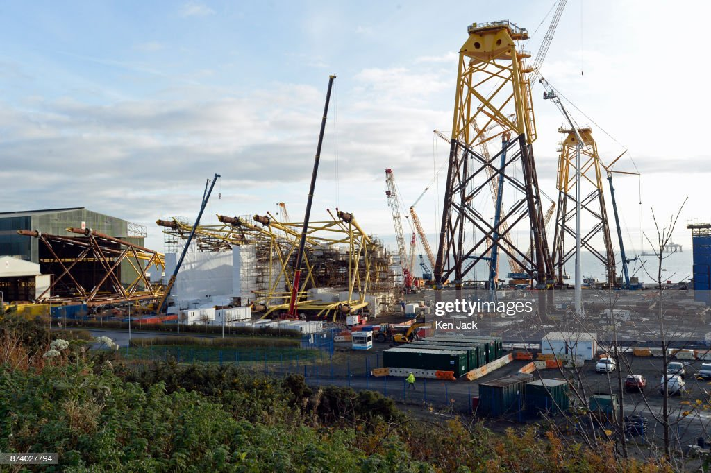 Giant steel structures for offshore wind power developments dominate the Methil yard of engineering company BiFab, as the company faces the possibility of going into administration because of difficulties with a major contract, on November 14, 2017 in Methil, Scotland. Unions say staff have agreed to a 'work-in' - continuing to work to progress the orders in hand even though they may not be paid.