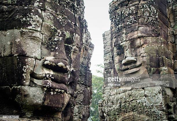 Giant stone heads at Bayon Temple, Angkor Thom, Siem Reap, Cambodia