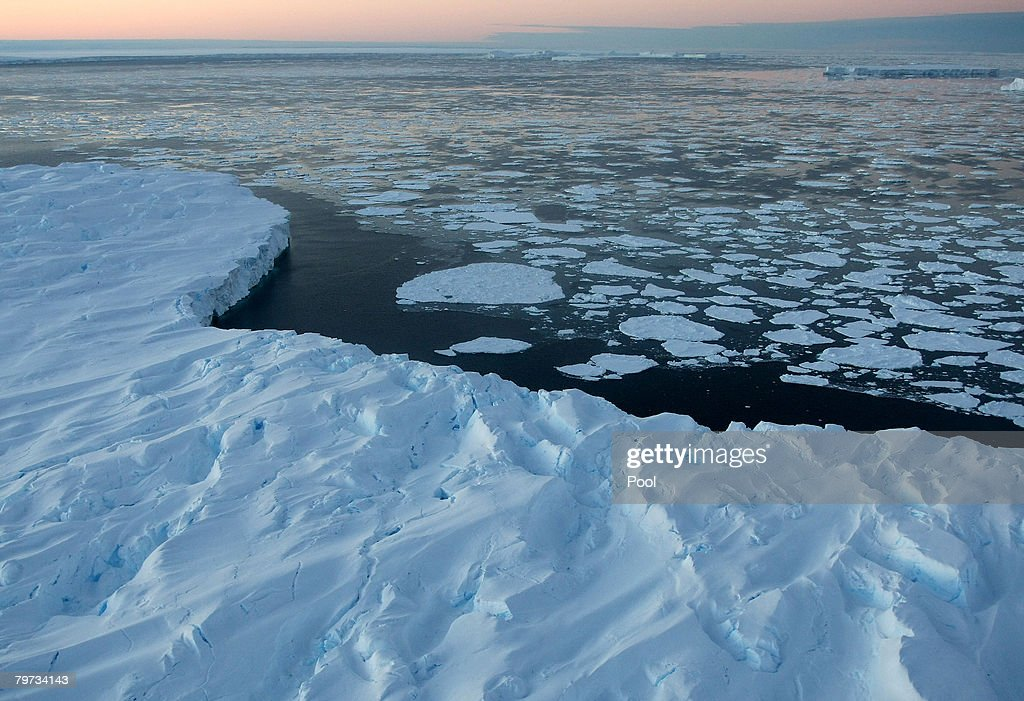 Giant tabular icebergs are surrounded by ice floe drift in Vincennes Bay on January 11 2008 in the Australian Antarctic Territory Australia's CSIRO's...