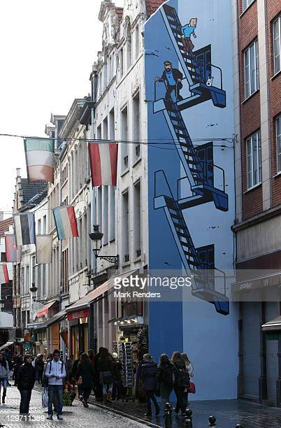A giant Tintin wall painting is displayed on the Tintin route on October 19 2011 in Brussels Belgium