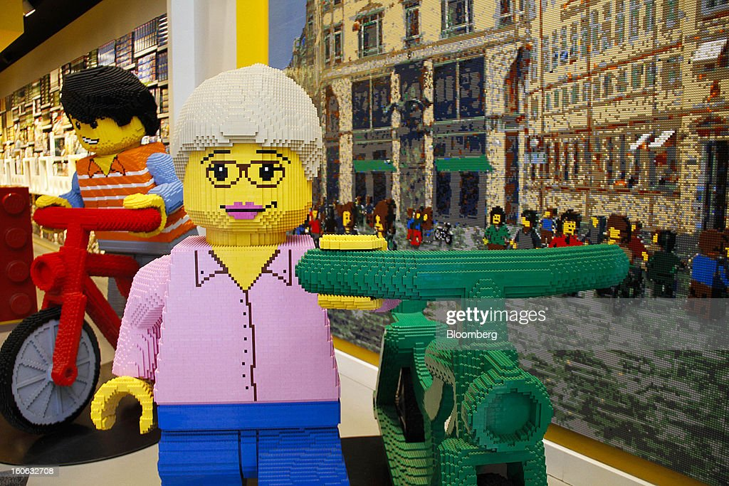 Giant toy models made of building blocks stand on display inside a Lego A/S toy store in Copenhagen, Denmark, on Friday, Jan. 11, 2013. The 'Lego Friends' series, introduced in January in most markets, is Lego's sixth attempt over the years to target girls and the 'most significant' new product in a decade, according to Chief Executive Officer Joergen Vig Knudstorp. Photographer: Freya Ingrid Morales/Bloomberg via Getty Images