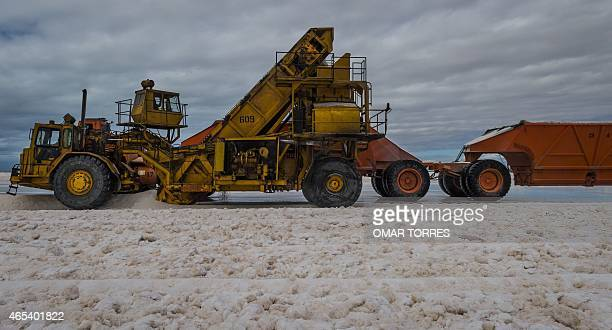 A giant truck collects salt at the Exportadora de Sal company plant in Guerrero Negro Baja California Sur state Mexico on March 03 2015 The salt...