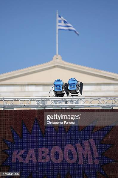 A giant TV screen displays the word 'kaboom' in front of the Greek parliament ahead of a rally by No supporters in Syntagma Square on July 3 2015 in...