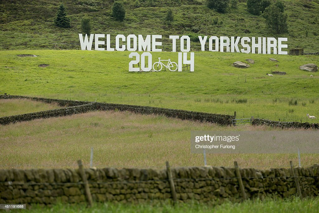 A giant 'Welcome to Yorkshire' sign adorns the dales near Haworth on route two as Yorkshire prepares to host the Tour de France Grand Depart, on June 24, 2014 in Haworth, United Kingdom. The people of Yorkshire are preparing to give the riders of the 2014 Tour de France a grand welcome as the route of stages one and two are decorated with bunting, bikes and yellow jerseys The Grand Depart of the 2014 Tour De France is taking place in Leeds with the first two stages taking place across Yorkshire on 6th and 7th of July.