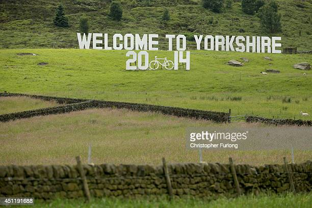 A giant 'Welcome to Yorkshire' sign adorns the dales near Haworth on route two as Yorkshire prepares to host the Tour de France Grand Depart on June...