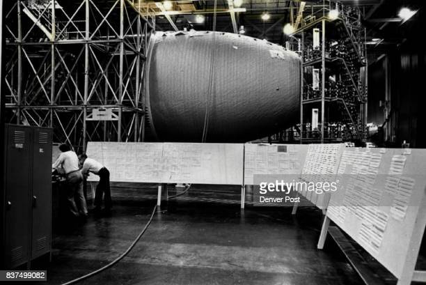 Giant weld lathers in factory area used by Martin Marietta's Michoud Division in New Orleans to assemble the massive external tank for the space...