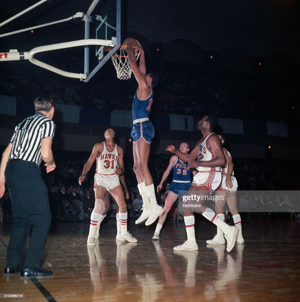 Wilt Chamberlain Going up to Dunk the Basket