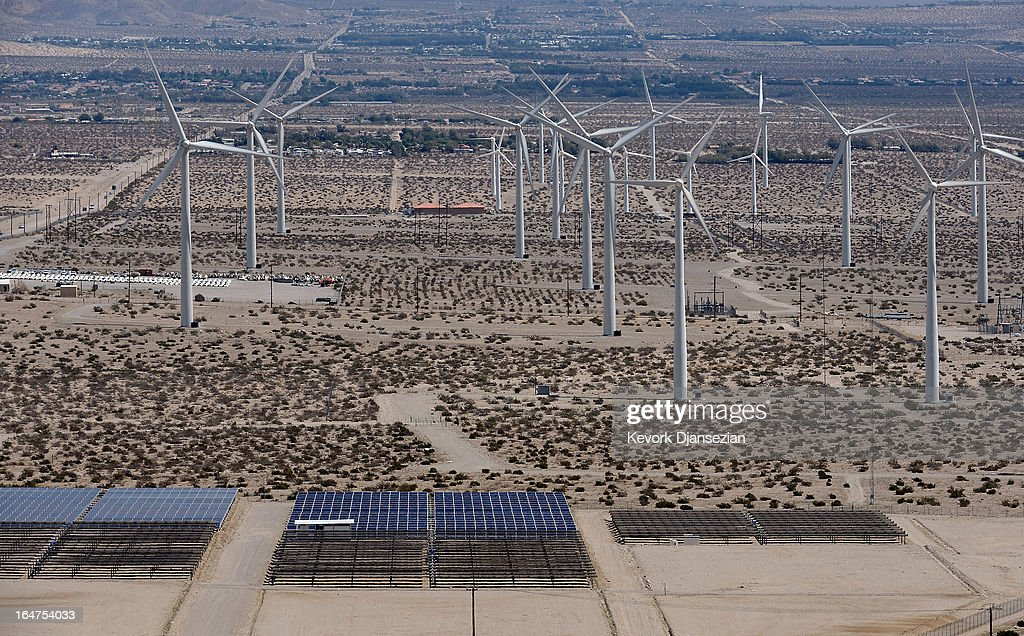 Giant wind turbines are powered by strong winds on March 27, 2013 in Palm Springs, California. According to reports, California continues its lead in green technology and has the lowest GHG emissions per capita, in the Nation.
