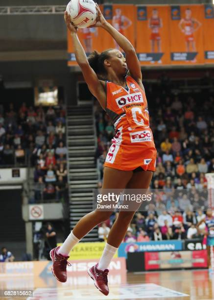 Giants centre Serena Guthrie catches the ball during the round 12 Super Netball match between the Giants and the Vixens at AIS on May 14 2017 in...