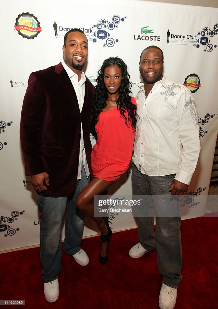 NY Giants Chris Canty, model Monique Stateena and Stan Norfleet attend the <a gi-track='captionPersonalityLinkClicked' href=/galleries/search?phrase=Danny+Clark&family=editorial&specificpeople=585740 ng-click='$event.stopPropagation()'>Danny Clark</a> Foundation 2nd Annual Laughs for Lives charity comedy event at Harold Washington Cultural Center on May 7, 2010 in Chicago, Illinois.