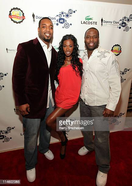 NY Giants Chris Canty model Monique Stateena and Stan Norfleet attend the Danny Clark Foundation 2nd Annual Laughs for Lives charity comedy event at...