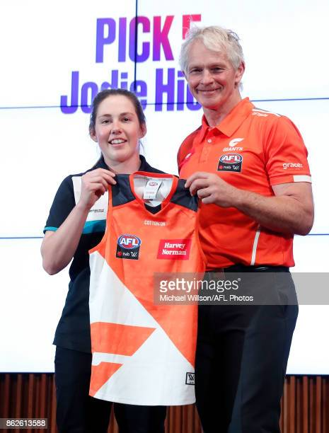 Giants Coach Alan McConnell poses for a photo with Jodie Hicks during the 2017 NAB AFL Women's Draft at Docklands on October 18 2017 in Melbourne...