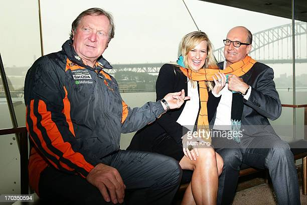Giants coach Kevin Sheedy and cohosts of 'Sunrise' Melissa Doyle and David Koch pose during a Greater Western Sydney Giants AFL media opportunity to...