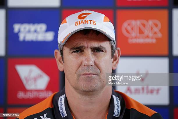 Giants coach Leon Cameron looks on during an AFL press conference at Spotless Stadium on June 7 2016 in Sydney AustraliaSwans coach John Longmire and...