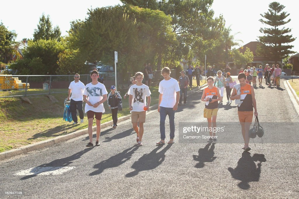 Giants fans arrive for the round two AFL NAB Cup match between the Greater Western Sydney Giants and the Brisbane Lions at the Robertson Oval in Wagga Wagga, Australia.