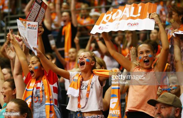 Giants fans celebrate after the round one of the Super Netball between the Giants and Swifts at Sydney Olympic Park Sports Centre on February 18 2017...