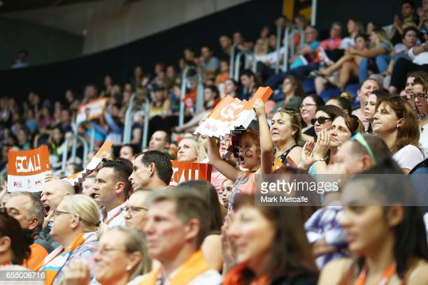 Giants fans show their support during the round five Super Netball match between the Giants and the Thunderbirds at AIS on March 19 2017 in Canberra...