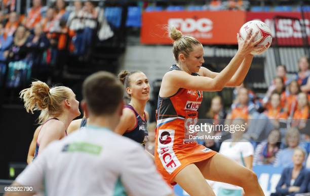 Giants goal attack Jo Harten catches the ball during the round 12 Super Netball match between the Giants and the Vixens at AIS on May 14 2017 in...