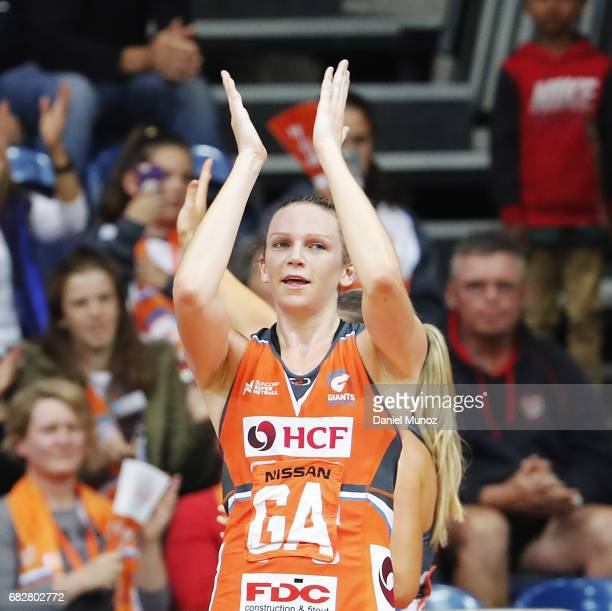 Giants goal attack Jo Harten greets the crowd after winning the round 12 Super Netball match between the Giants and the Vixens at AIS on May 14 2017...