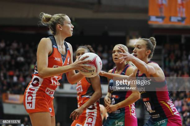 Giants goal attack Jo Harten looks for a pass during the round 12 Super Netball match between the Giants and the Vixens at AIS on May 14 2017 in...