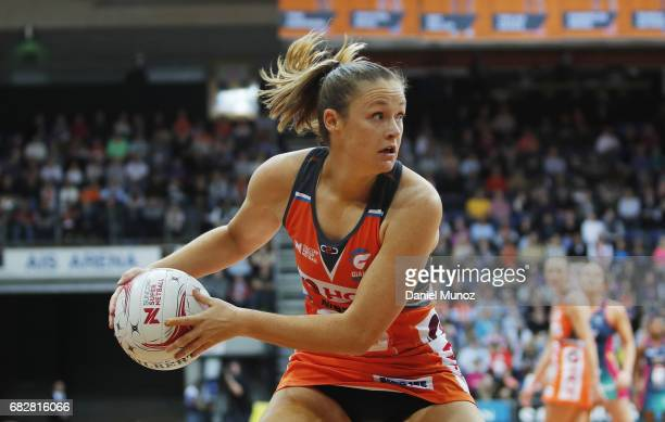 Giants goal shooter Susan Pettitt during the round 12 Super Netball match between the Giants and the Vixens at AIS on May 14 2017 in Canberra...