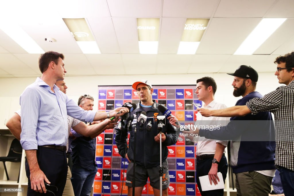 Giants head coach Leon Cameron speaks to the media during the Greater Western Sydney Giants AFL training session at Spotless Stadium on September 13, 2017 in Sydney, Australia.