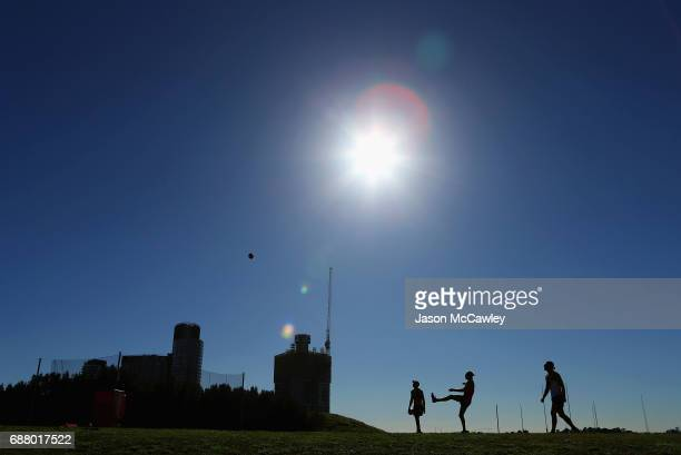 Giants player kicks during a Greater Western Sydney Giants AFL training session at Sydney Olympic Park Sports Centre on May 25 2017 in Sydney...