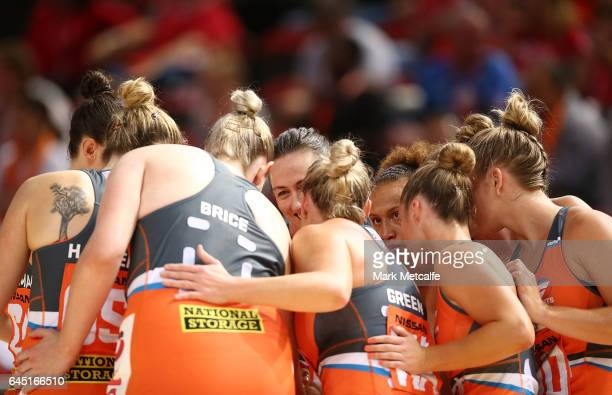 Giants players huddle before the round two Super Netball match between the Giants and the West Coast Fever at Qudos Bank Arena on February 25 2017 in...