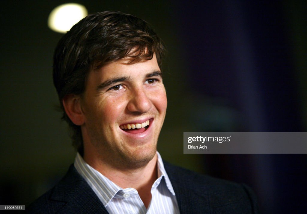 NY Giants quarterback <a gi-track='captionPersonalityLinkClicked' href=/galleries/search?phrase=Eli+Manning&family=editorial&specificpeople=202013 ng-click='$event.stopPropagation()'>Eli Manning</a> at the NFL Super Bowl XLII Champions DVD Premiere Screening at AMC Empire 25 Theaters in Times Square on February 25, 2008, in New York City.