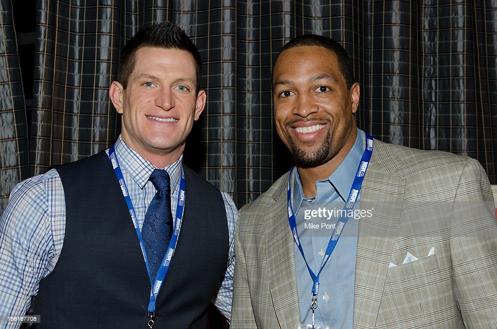 NY Giants <a gi-track='captionPersonalityLinkClicked' href=/galleries/search?phrase=Steve+Weatherford&family=editorial&specificpeople=980653 ng-click='$event.stopPropagation()'>Steve Weatherford</a> and <a gi-track='captionPersonalityLinkClicked' href=/galleries/search?phrase=Michael+Boley&family=editorial&specificpeople=750373 ng-click='$event.stopPropagation()'>Michael Boley</a> attend MDA's 2013 Muscle Team Kick Off Event at The Lighthouse at Chelsea Piers on December 10, 2012 in New York City.