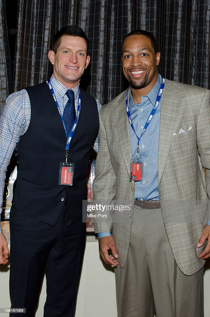 NY Giants <a gi-track='captionPersonalityLinkClicked' href=/galleries/search?phrase=Steve+Weatherford&family=editorial&specificpeople=980653 ng-click='$event.stopPropagation()'>Steve Weatherford</a> and <a gi-track='captionPersonalityLinkClicked' href=/galleries/search?phrase=Michael+Boley&family=editorial&specificpeople=750373 ng-click='$event.stopPropagation()'>Michael Boley</a> attends MDA's 2013 Muscle Team Kick Off Event at The Lighthouse at Chelsea Piers on December 10, 2012 in New York City.
