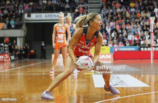 Giants wing attack Sarah Wall during the round 12 Super Netball match between the Giants and the Vixens at AIS on May 14 2017 in Canberra Australia