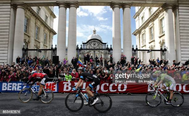 GiantShimano's Marcel Kittel passes Government Buildings on Merrion Street after crossing the finish line to win stage three of the 2014 Giro...