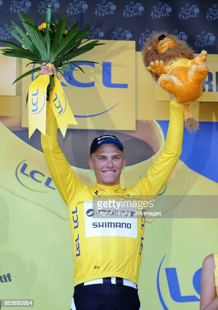 GiantShimano's Marcel Kittel with his yellow jersey after winning stage one of the Tour de France in Harrogate Yorkshire