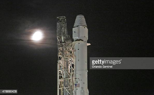 A gibbous moon shines early on Sunday June 28 as a SpaceX Falcon 9 rocket is set to launch its seventh official Commercial Resupply mission to the...