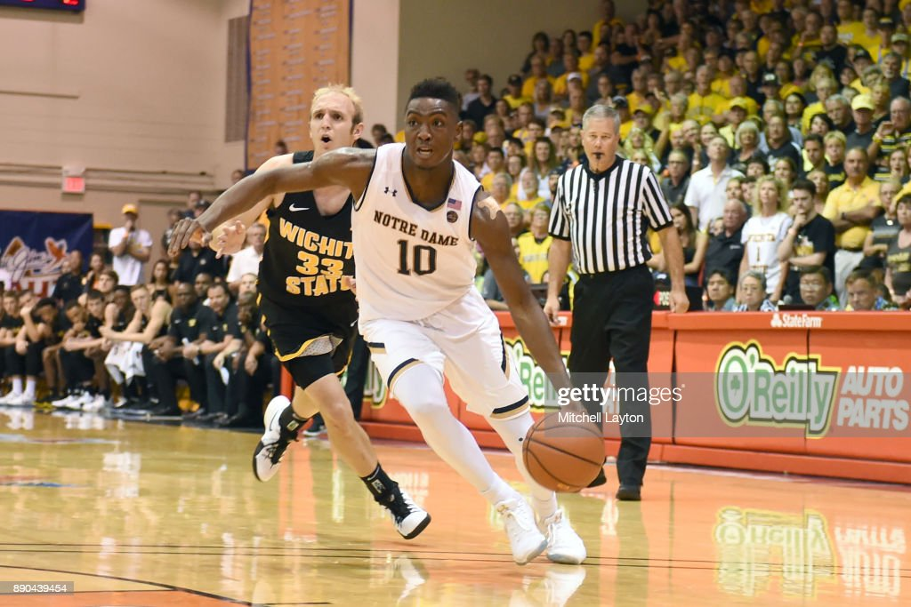 TJ Gibbs #10 of the Notre Dame Fighting Irish dribbles the ball during a the championship of the Maui Invitational college basketball game against the Wichita State Shockers at the Lahaina Civic Center on November 22, 2017 in Lahaina, Hawaii. The Fighting Irish won 67-66.