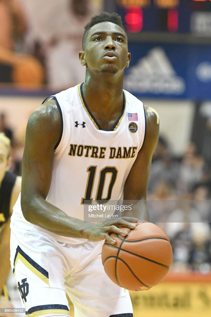 TJ Gibbs #10 of the Notre Dame Fighting Irish takes a foul shot during a the championship of the Maui Invitational college basketball game against the Wichita State Shockers at the Lahaina Civic Center on November 22, 2017 in Lahaina, Hawaii. The Fighting Irish won 67-66.