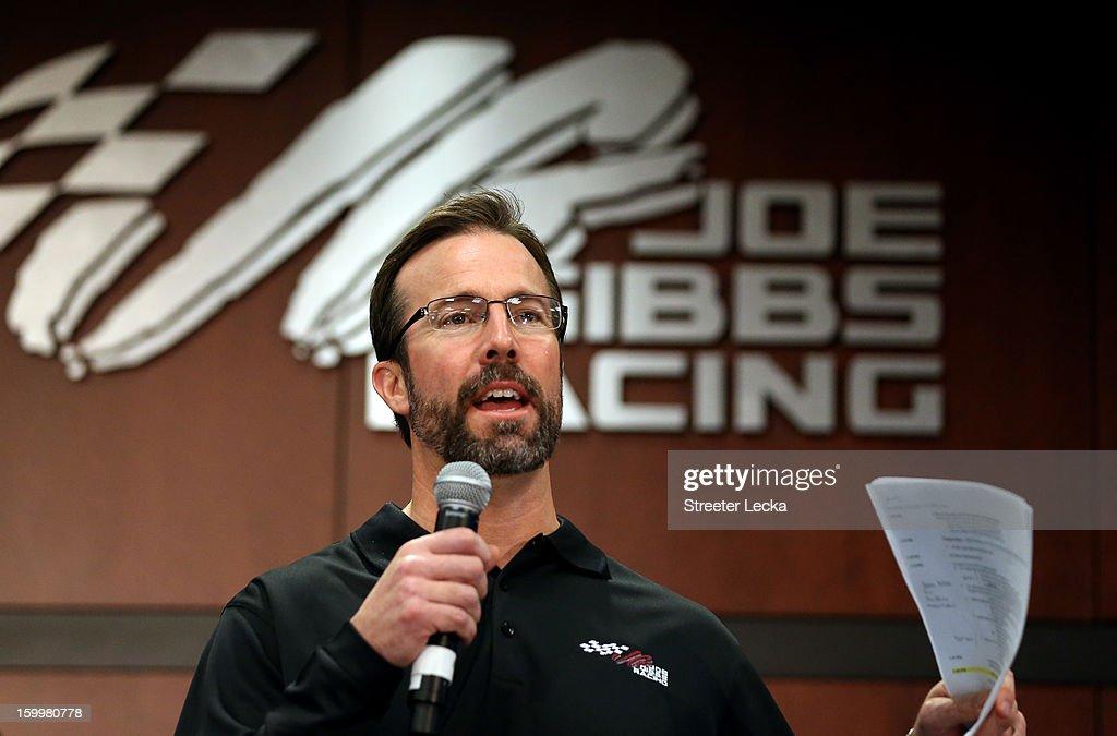 J.D. Gibbs, President of JGR, speaks to the media during the 2013 NASCAR Sprint Media Tour on January 24, 2013 in Concord, North Carolina.