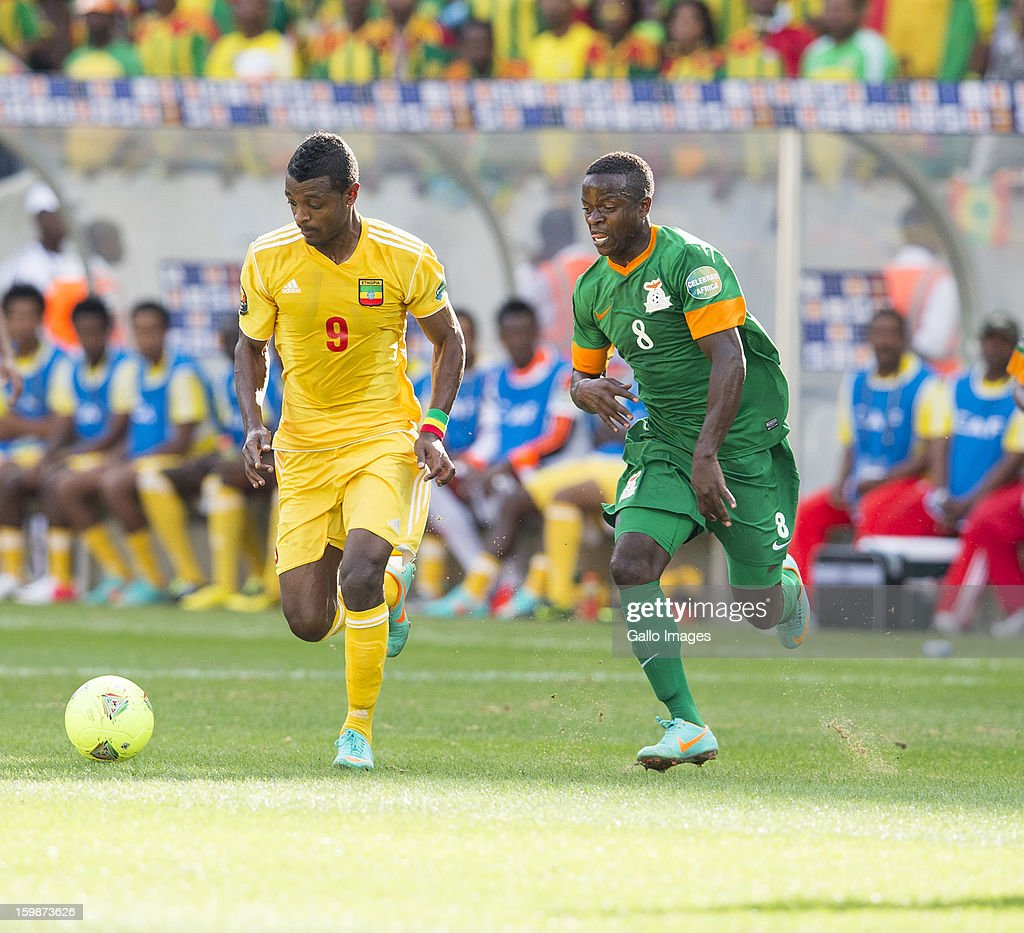 Gibeto Getaneh Kebede & Isaac Chansa during the 2013 Orange African Cup of Nations match between Zambia and Ethiopia from Mbombela Stadium on January 21, 2012 in Nelspruit, South Africa