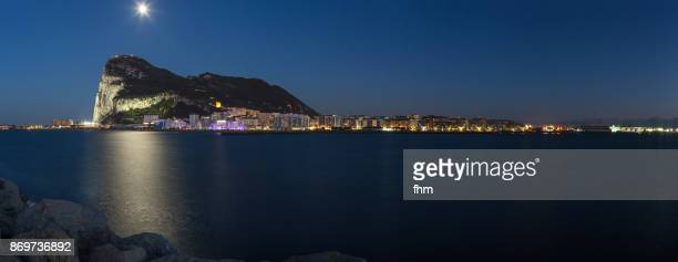 Gibraltar at blue hour with moon - city and Upper Rock - Gibraltar/ UK