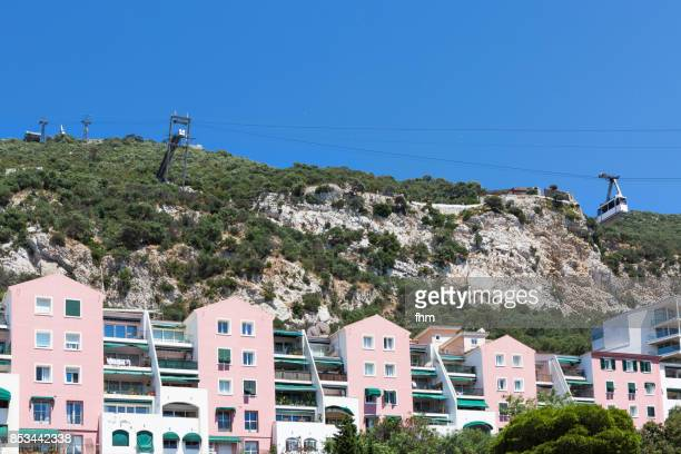 Gibraltar detail: residential buildings with cable car to summit of Upper Rock (Gibraltar/ UK)
