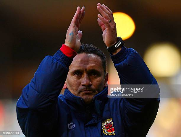 Gibraltar manager David Wilson acknowledges the applause from the travelling fans during the EURO 2016 Group D qualifying match between Scotland and...