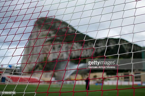 Gibraltar Rock across one of Victoria Stadium goal«s net prior to start the International Friendly football match between Gibraltar and Faroe Islands...