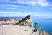 Viewpoint on top of Gibraltar rock, on the far left La Linea town in Spain, on the right Mediterranean Sea