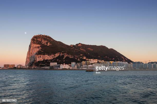 Gibraltar sunset with moon - city and Upper Rock - Gibraltar/ UK