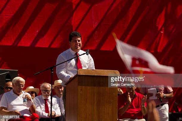 Gibraltarian chief Minister Fabian Raymond Picardo speaks during Gibraltar National Day celebrations on September 10 2014 in Gibraltar The official...